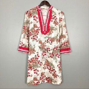 Tory Burch Pom Pom Dress Floral Embroidered Midi